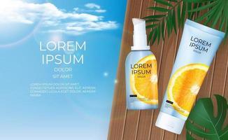 Fundo de garrafa de creme laranja 3D realista de vitamina c. modelo de design de produto de moda cosmética. ilustração vetorial vetor