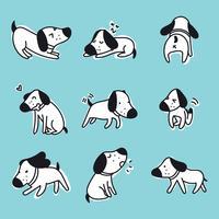 Conjunto de um cão com emoções diferentes vetor
