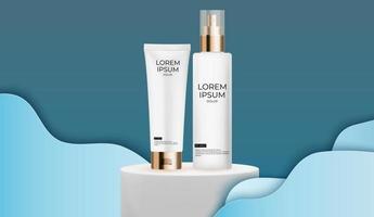 Modelo de cenografia 3D realista frasco de creme de produtos de cosméticos da moda para anúncios, banner ou fundo de revista. ilustração vetorial vetor