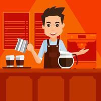 Vetor de barista dos desenhos animados