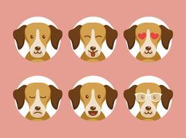 Emoções do cão com fundo do círculo vetor