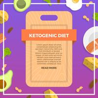 Pacote inicial de dieta cetogênica plana com ilustração em vetor fundo gradiente