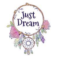 Apanhador de sonhos bonito Boho com citação vetor