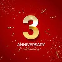 decoração de celebração de aniversário. número dourado 3 com fitas de confete, brilhos e serpentina em fundo vermelho. ilustração vetorial vetor