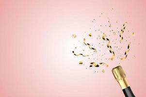 garrafa de champanhe dourada 3d realista com confete. fundo da festa. ilustração vetorial vetor