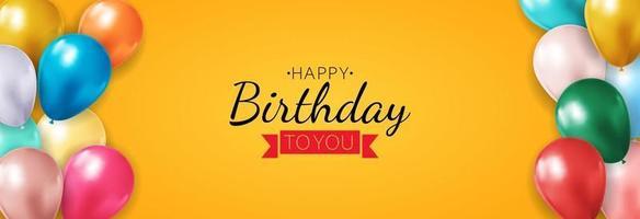 realista balão 3d berthday feliz fundo para festa, feriado, cartão de promoção, cartaz. ilustração vetorial eps10 vetor