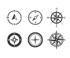 conjunto de ícones de vetor de bússola isolados no fundo branco