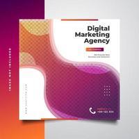 modelo de postagem de mídia social de agência de marketing digital em conceito colorido e dinâmico