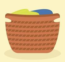 cesto de roupa suja ecológico. cesta com linho. ilustração vetorial plana vetor