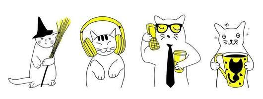 conjunto de vários gatos engraçados e fofos. estilo dos desenhos animados do doodle. vetor