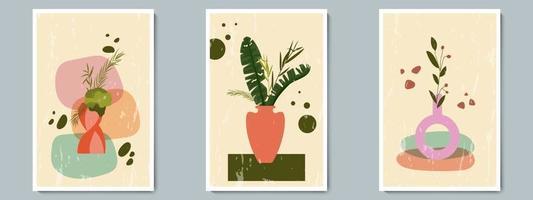 mão desenhada vaso de cerâmica cravejado de plantas tropicais e forma geométrica. colagem da moda para decoração em fundo grunge vetor