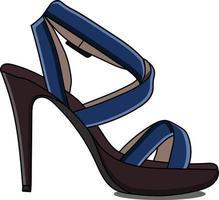 sapatos femininos azuis e marrons com salto vetor
