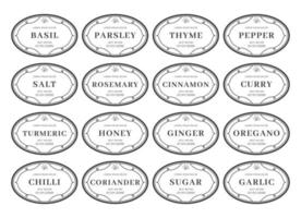 tempero cozinha despensa etiqueta conjunto organizador preto branco estilo vintage vetor