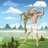 fazendeiro confiante em frente ao arrozal vetor