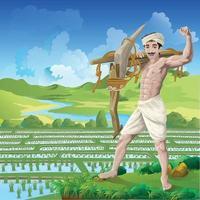 agricultor feliz em pé com confiança em um fundo de arrozal vetor
