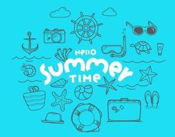 Olá, elementos do vetor de doodle de horário de verão com inscrição de letras