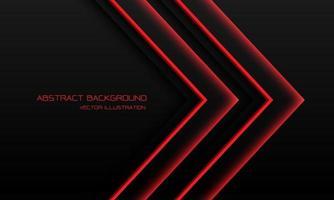abstrato vermelho luz néon seta direção em preto com espaço em branco design moderno futurista tecnologia fundo ilustração vetorial.