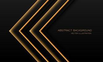abstrato amarelo luz néon seta direção em preto com espaço em branco design moderno futurista tecnologia fundo ilustração vetorial.
