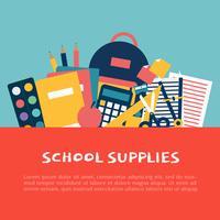 Ilustração do vetor de material escolar