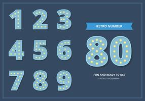 Luz de número retrô definida na cor azul vetor