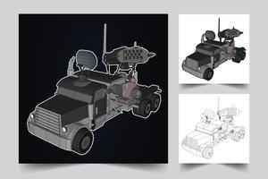 ilustração de veículo blindado vetor