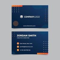 cartão de visita dupla face laranja e azul vetor