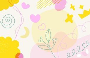 papel de parede de vetor artístico. backgriund abstrato com formas geométricas de cor mão desenhada. ilustração de estilo esboçado