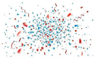explosão de confetes e fitas de folha azul e vermelha vetor