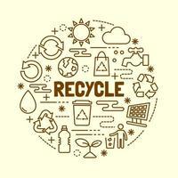 reciclar conjunto mínimo de ícones de linha fina vetor