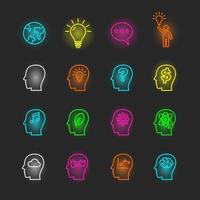 conjunto de ícones de néon ideia vetor
