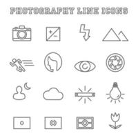 ícones de linha de fotografia vetor