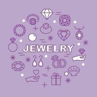 ícones de contorno mínimo de joias vetor