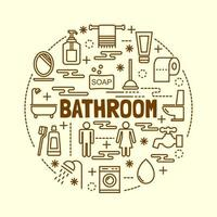 conjunto de ícones de linhas finas mínimas de banheiro vetor