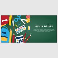 Banner de vetor de material escolar