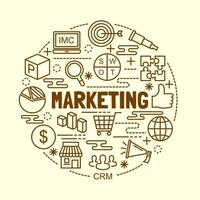 conjunto de ícones de linha fina mínima de marketing vetor