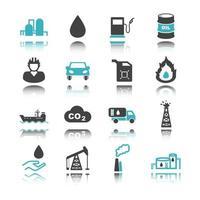 ícones de petróleo com reflexo vetor