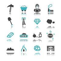 ícones de mineração com reflexão