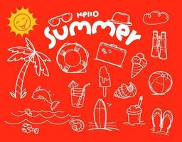 Olá, elementos de vetor de doodle de verão com inscrição de letras