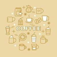 ícones de contorno mínimo de café vetor