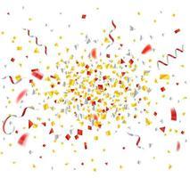 explosão de confetes e fitas de ouro e vermelho vetor