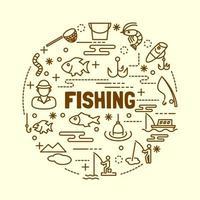 conjunto de ícones de linha fina mínima de pesca vetor