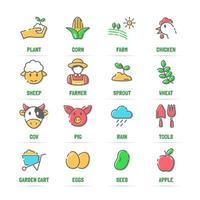 ícones de linha de vetor de agricultura com cores planas