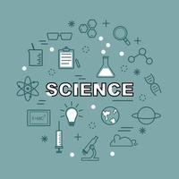 ícones de contorno mínimo de ciência vetor