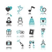 ícones de casamento com reflexão vetor