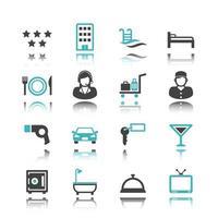 ícones de hotéis com reflexo vetor