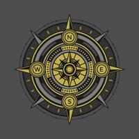 Vetor de bússola preto e dourado