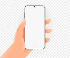 mão segurando um smartphone moderno com tela em branco. maquete de vetor
