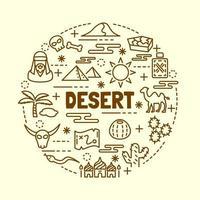 conjunto de ícones de linha fina mínima do deserto vetor