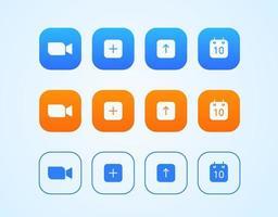 conjunto de vetores de botões de interface de aplicativo de videoconferência moderno