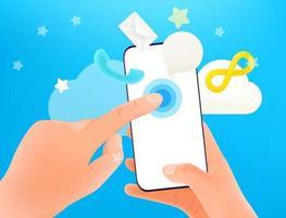 usando o conceito de vetor de smartphone moderno. mãos segurando um smartphone moderno e tocando na tela